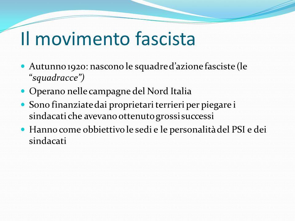 Il movimento fascista Autunno 1920: nascono le squadre d'azione fasciste (le squadracce ) Operano nelle campagne del Nord Italia.