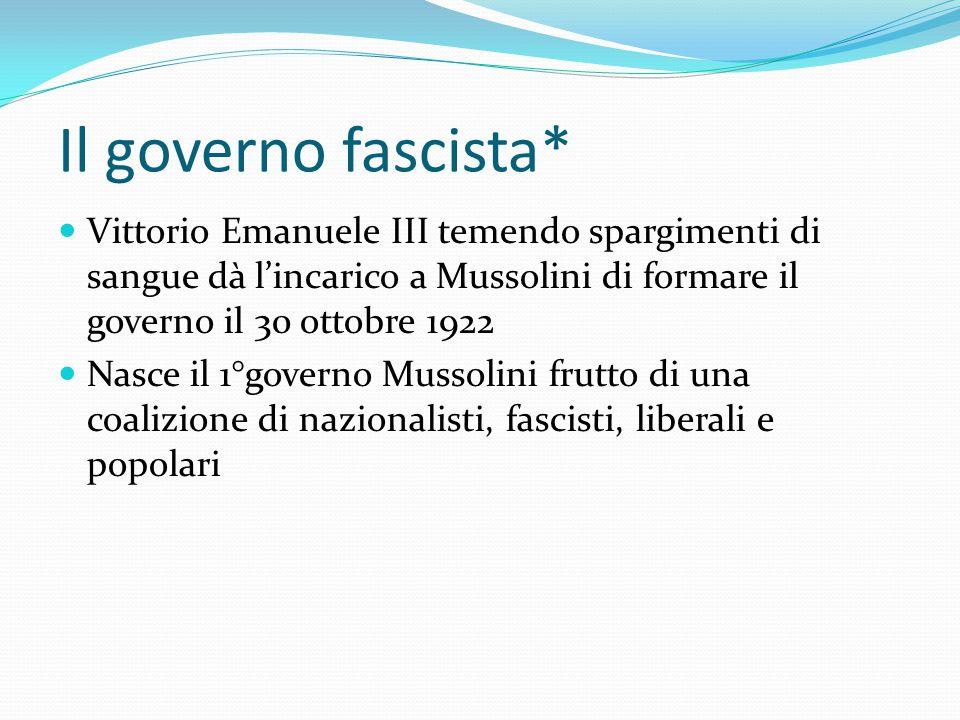Il governo fascista* Vittorio Emanuele III temendo spargimenti di sangue dà l'incarico a Mussolini di formare il governo il 30 ottobre 1922.