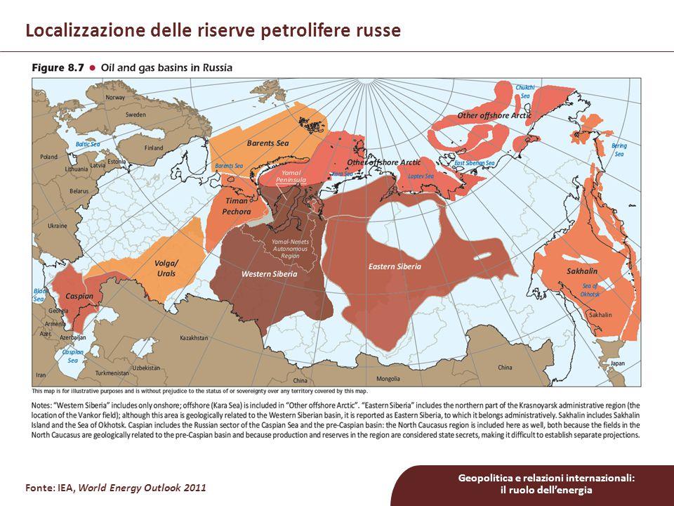 Localizzazione delle riserve petrolifere russe