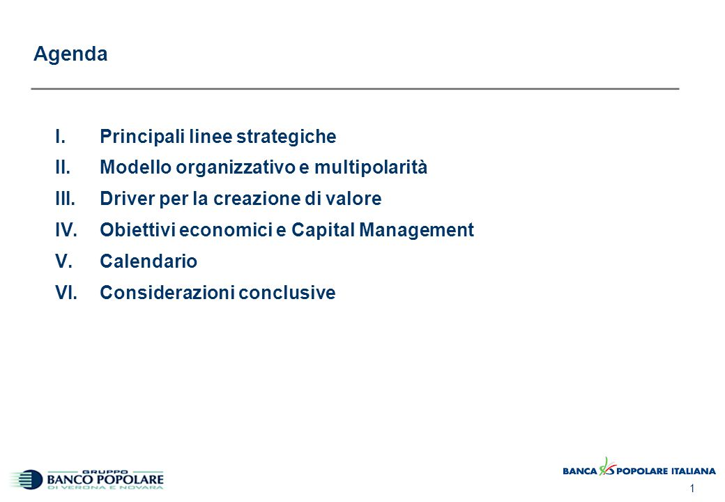 I. Principali linee strategiche
