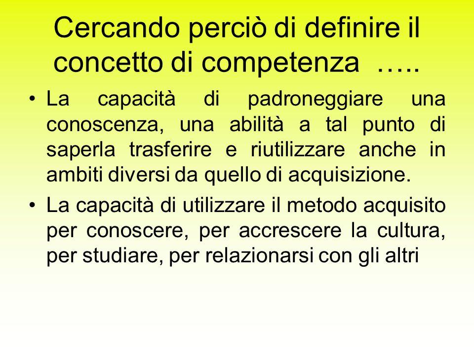 Cercando perciò di definire il concetto di competenza …..