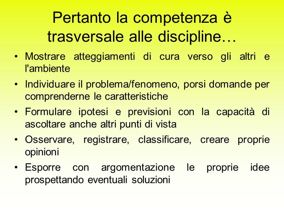 Pertanto la competenza è trasversale alle discipline…