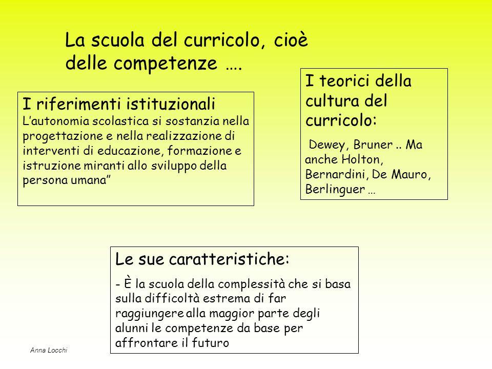 La scuola del curricolo, cioè delle competenze ….