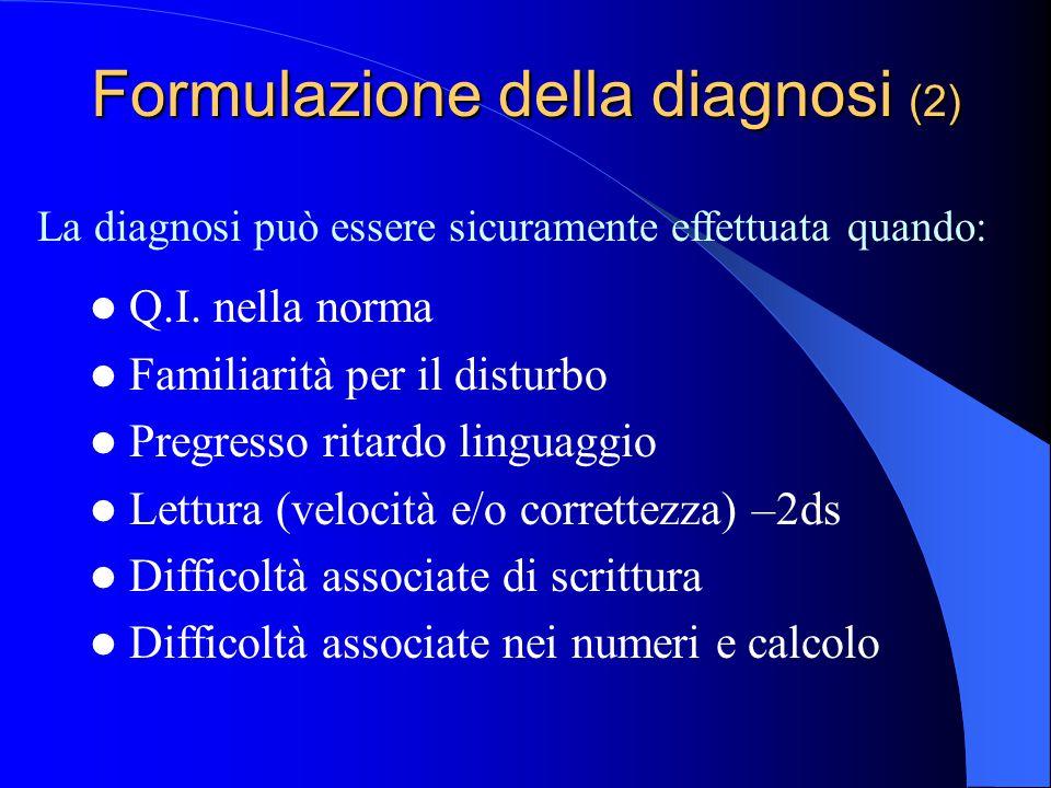 Formulazione della diagnosi (2)