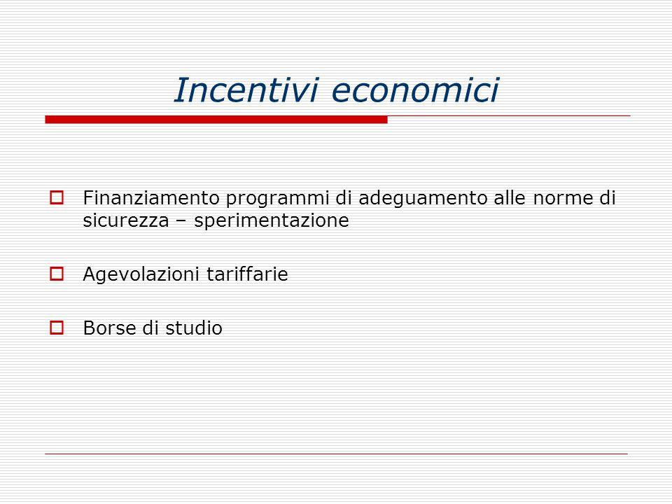 Incentivi economici Finanziamento programmi di adeguamento alle norme di sicurezza – sperimentazione.