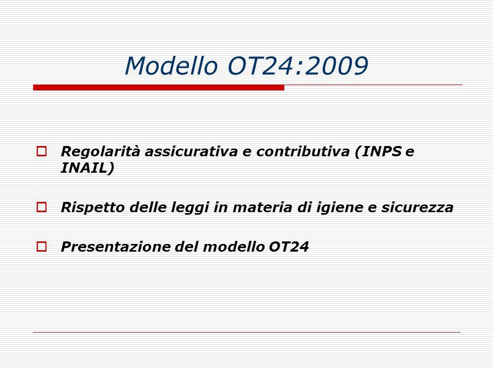 Modello OT24:2009 Regolarità assicurativa e contributiva (INPS e INAIL) Rispetto delle leggi in materia di igiene e sicurezza.