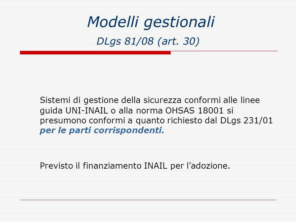 Modelli gestionali DLgs 81/08 (art. 30)