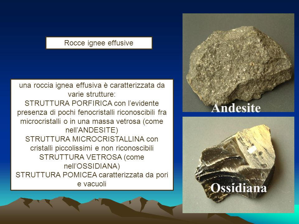 Andesite Ossidiana Rocce ignee effusive