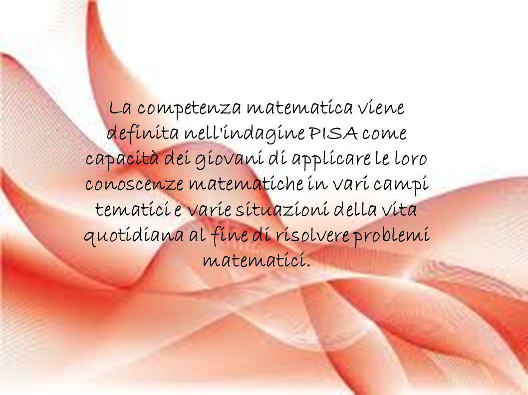 La competenza matematica viene definita nell indagine PISA come capacità dei giovani di applicare le loro conoscenze matematiche in vari campi tematici e varie situazioni della vita quotidiana al fine di risolvere problemi matematici.
