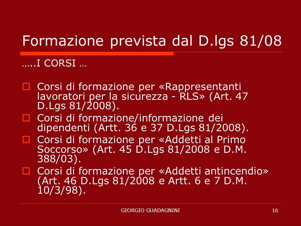 Formazione prevista dal D.lgs 81/08