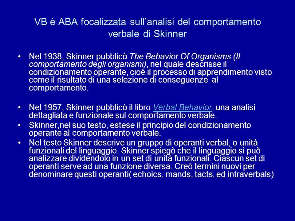 VB è ABA focalizzata sull'analisi del comportamento verbale di Skinner