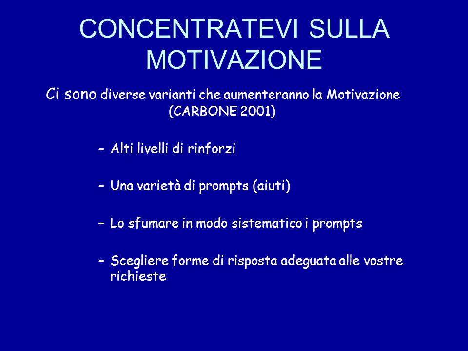CONCENTRATEVI SULLA MOTIVAZIONE