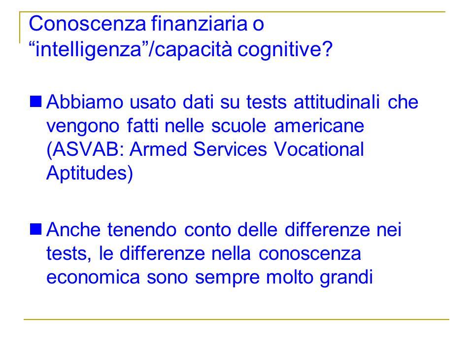Conoscenza finanziaria o intelligenza /capacità cognitive
