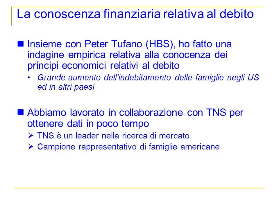 La conoscenza finanziaria relativa al debito