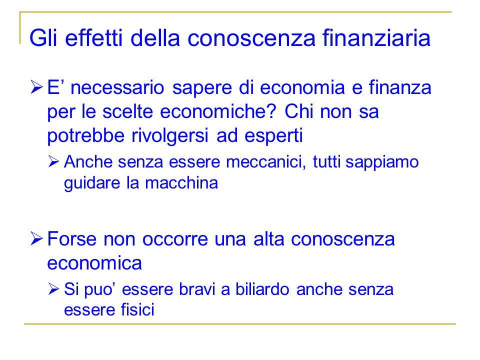 Gli effetti della conoscenza finanziaria
