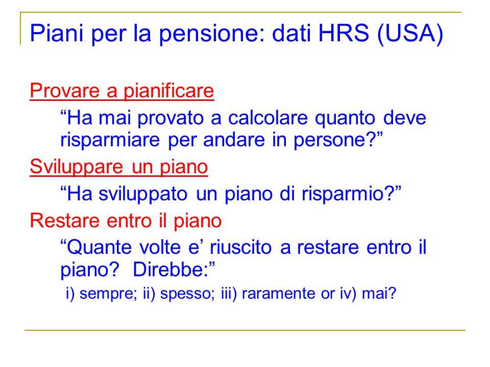 Piani per la pensione: dati HRS (USA)