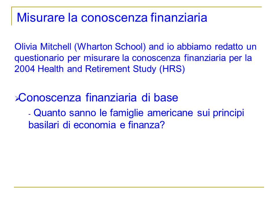 Misurare la conoscenza finanziaria