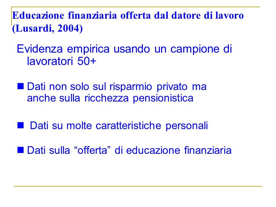 Educazione finanziaria offerta dal datore di lavoro (Lusardi, 2004)