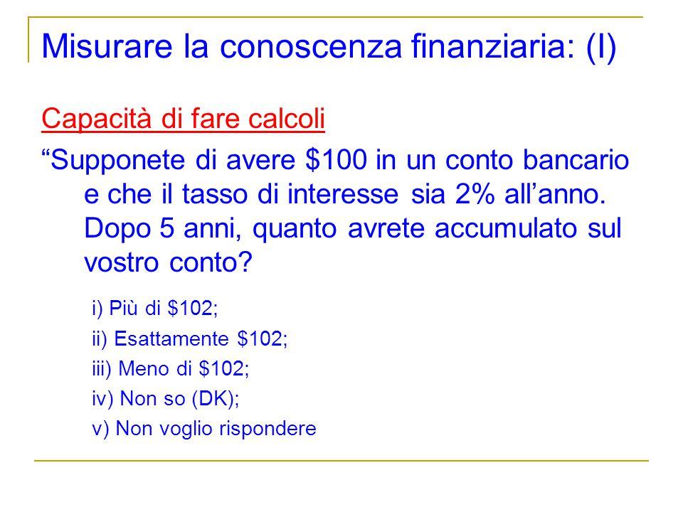 Misurare la conoscenza finanziaria: (I)