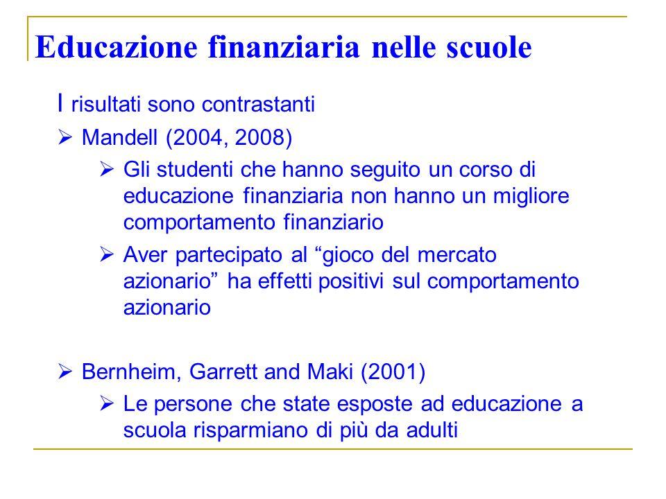 Educazione finanziaria nelle scuole