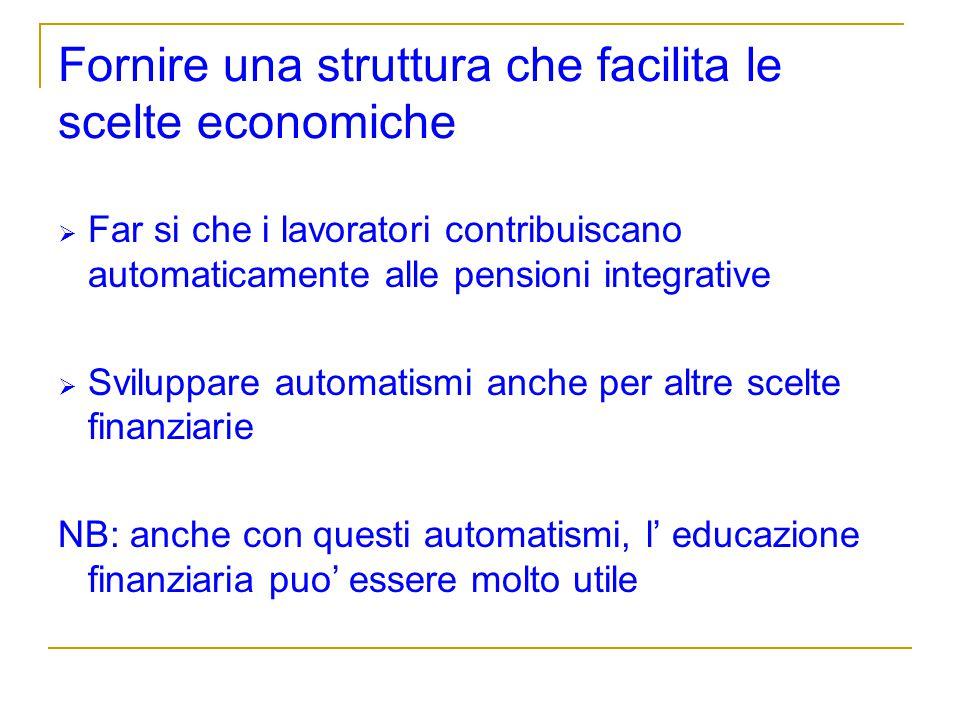 Fornire una struttura che facilita le scelte economiche