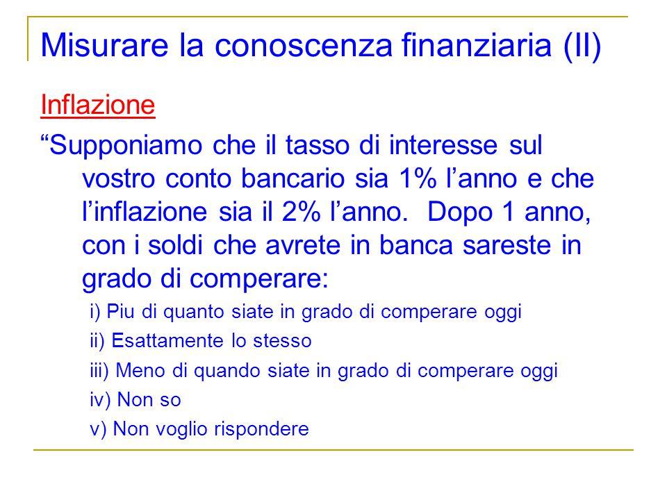 Misurare la conoscenza finanziaria (II)