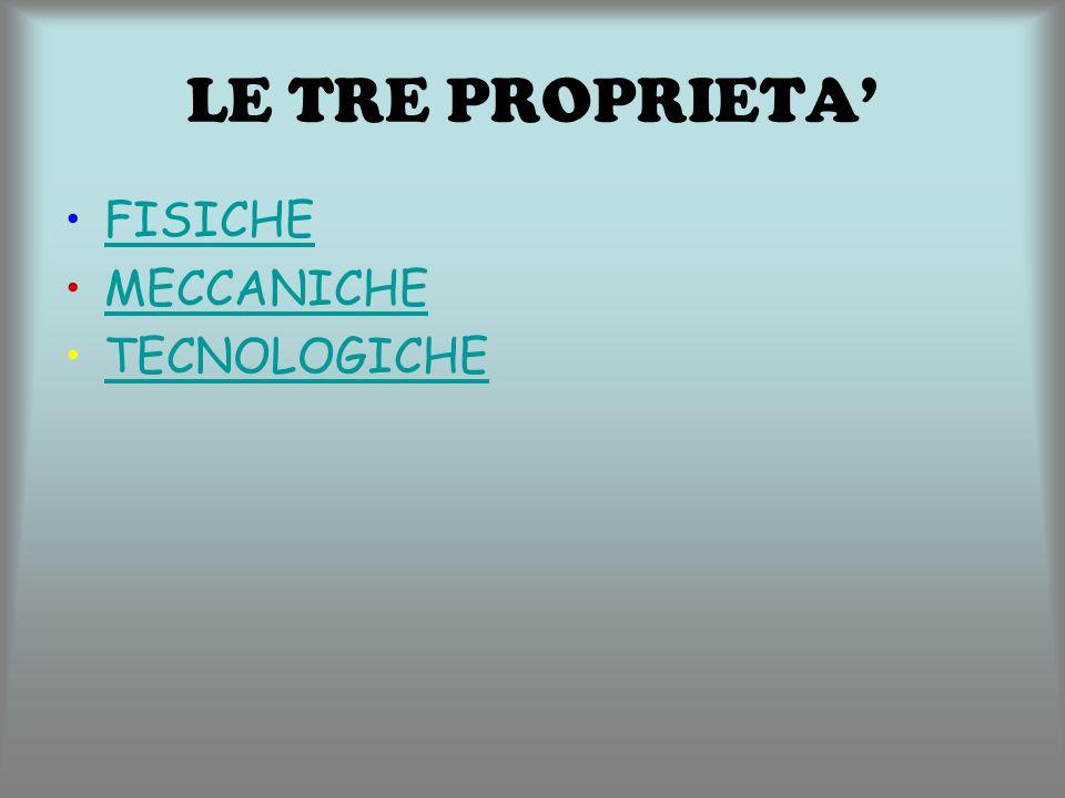 LE TRE PROPRIETA' FISICHE MECCANICHE TECNOLOGICHE