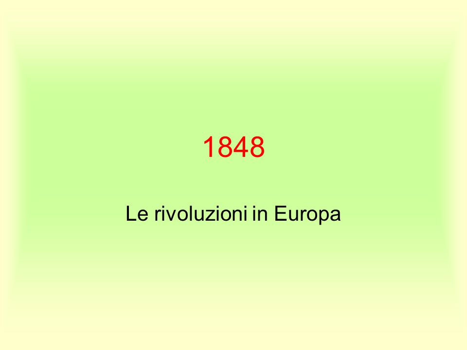 Le rivoluzioni in Europa