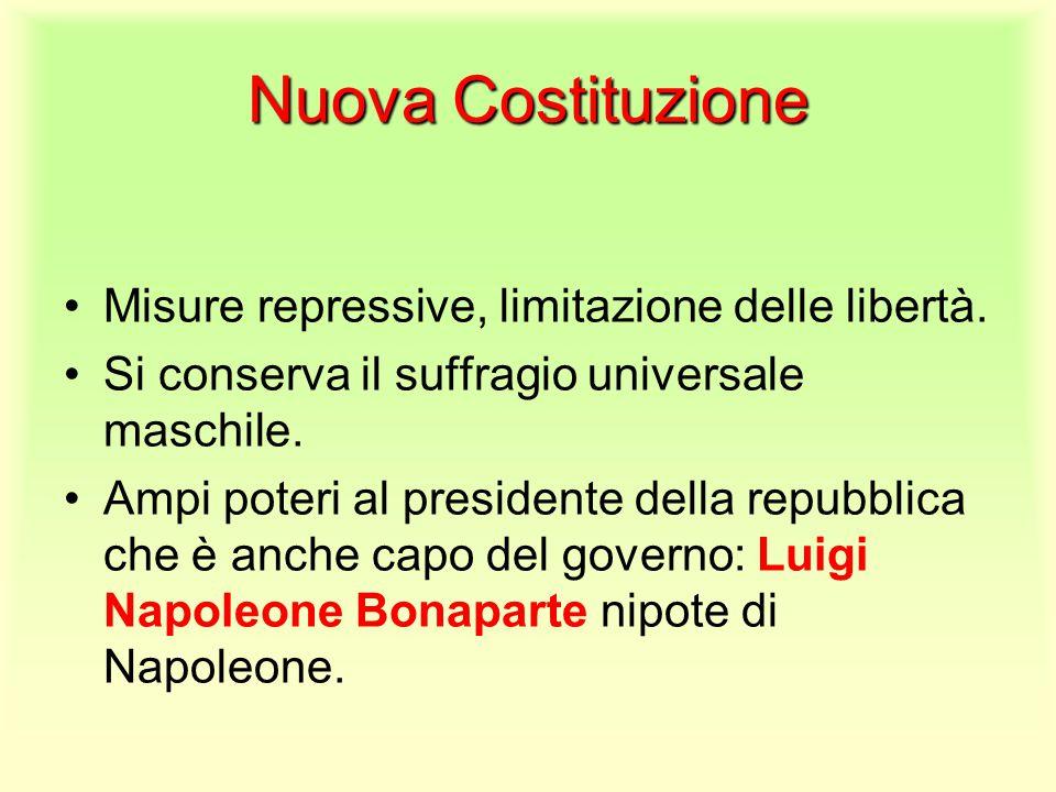 Nuova Costituzione Misure repressive, limitazione delle libertà.