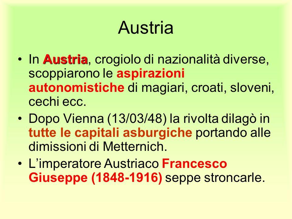 Austria In Austria, crogiolo di nazionalità diverse, scoppiarono le aspirazioni autonomistiche di magiari, croati, sloveni, cechi ecc.