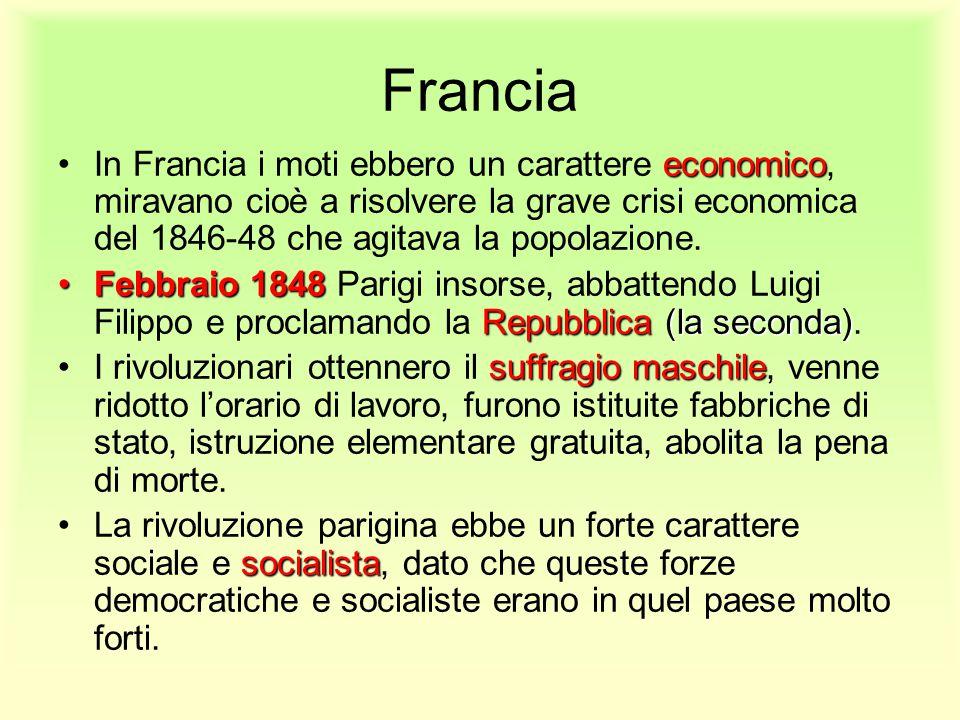 Francia In Francia i moti ebbero un carattere economico, miravano cioè a risolvere la grave crisi economica del 1846-48 che agitava la popolazione.