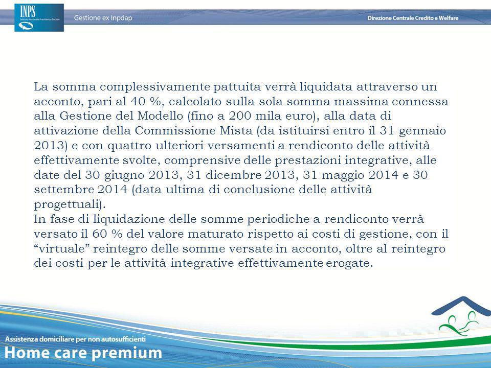 La somma complessivamente pattuita verrà liquidata attraverso un acconto, pari al 40 %, calcolato sulla sola somma massima connessa alla Gestione del Modello (fino a 200 mila euro), alla data di attivazione della Commissione Mista (da istituirsi entro il 31 gennaio 2013) e con quattro ulteriori versamenti a rendiconto delle attività effettivamente svolte, comprensive delle prestazioni integrative, alle date del 30 giugno 2013, 31 dicembre 2013, 31 maggio 2014 e 30 settembre 2014 (data ultima di conclusione delle attività progettuali).
