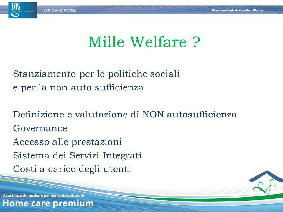 Mille Welfare Stanziamento per le politiche sociali