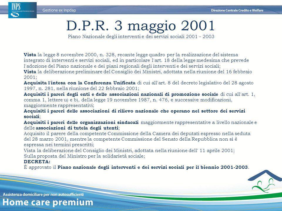 Piano Nazionale degli interventi e dei servizi sociali 2001 - 2003
