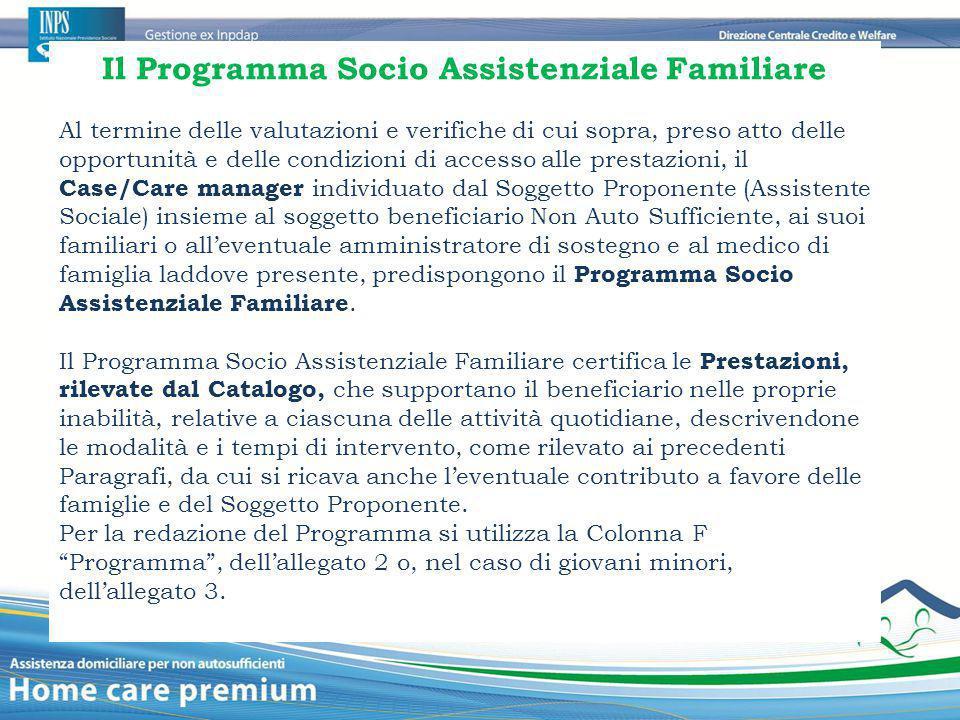Il Programma Socio Assistenziale Familiare