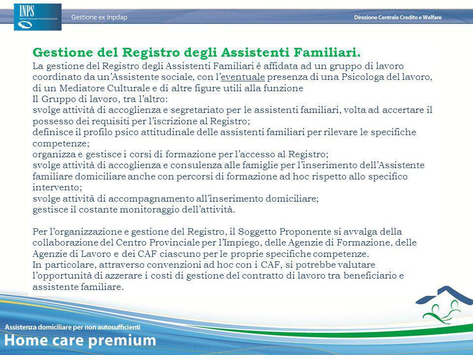 Gestione del Registro degli Assistenti Familiari.