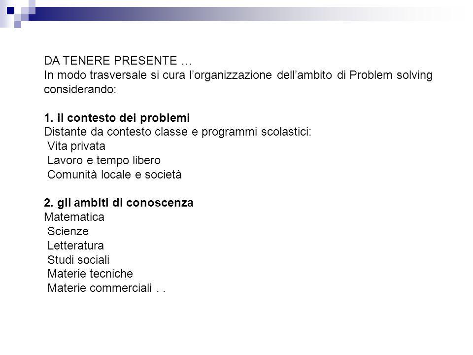 DA TENERE PRESENTE … In modo trasversale si cura l'organizzazione dell'ambito di Problem solving considerando: