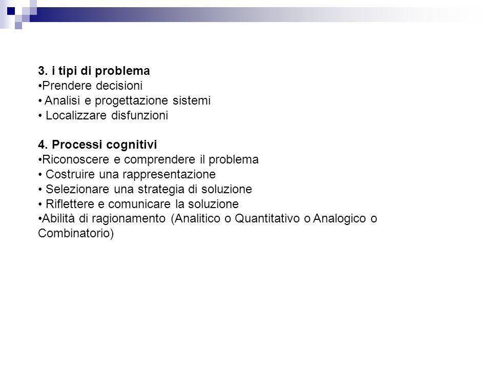 3. i tipi di problema Prendere decisioni. Analisi e progettazione sistemi. Localizzare disfunzioni.