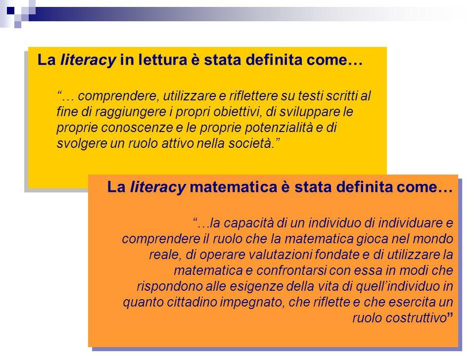 La literacy in lettura è stata definita come…