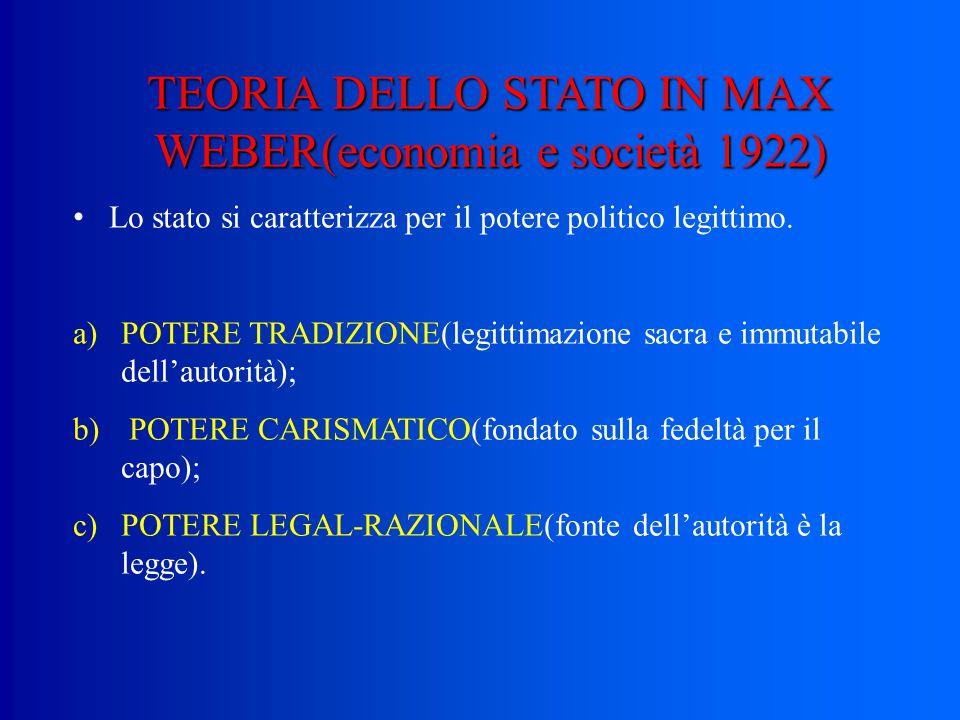 TEORIA DELLO STATO IN MAX WEBER(economia e società 1922)