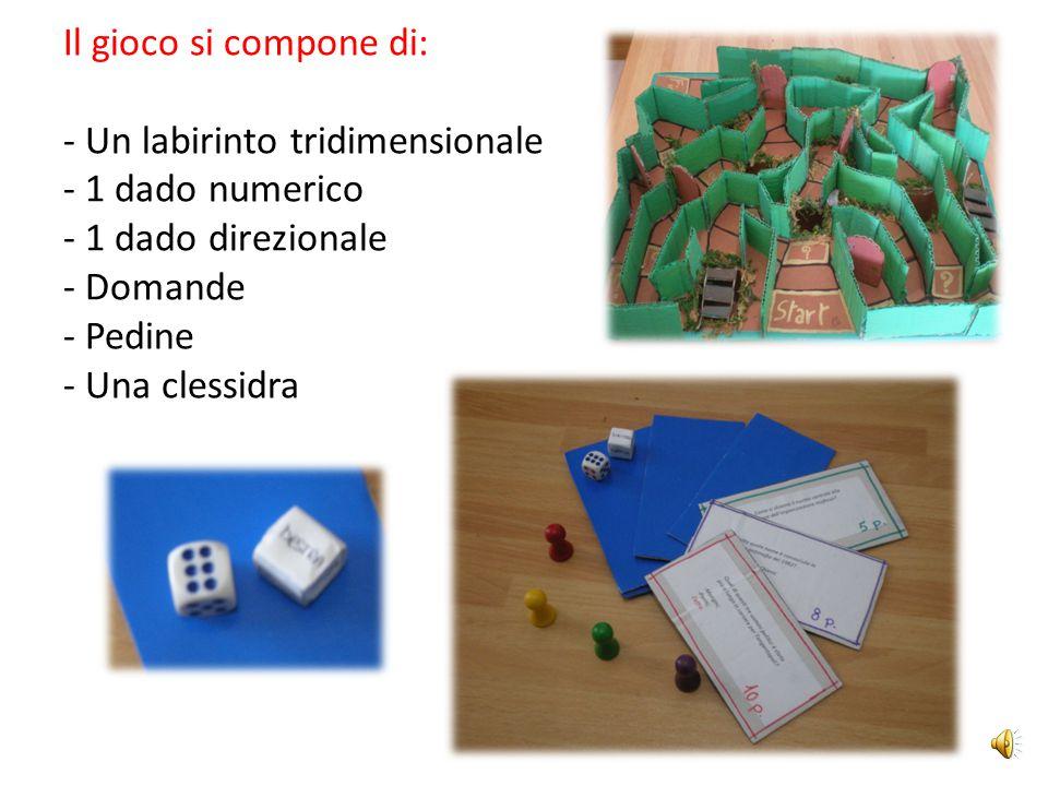 Il gioco si compone di: - Un labirinto tridimensionale - 1 dado numerico - 1 dado direzionale - Domande - Pedine - Una clessidra