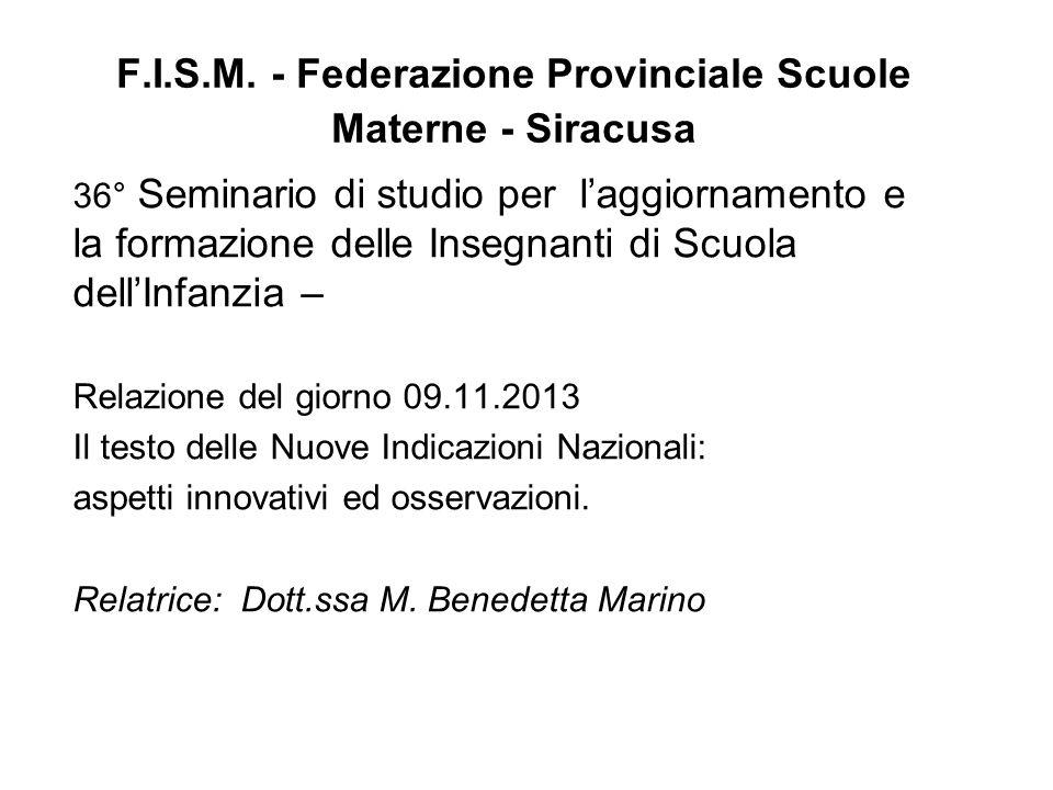F.I.S.M. - Federazione Provinciale Scuole Materne - Siracusa