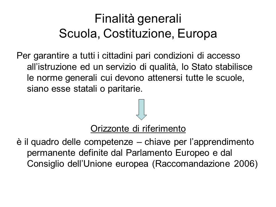 Finalità generali Scuola, Costituzione, Europa