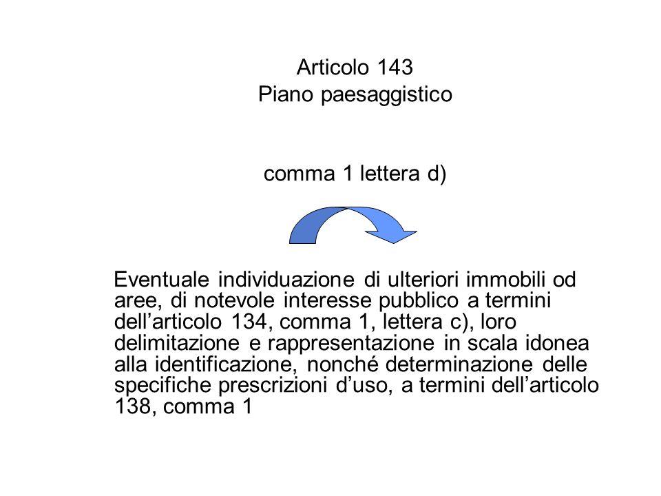 Articolo 143 Piano paesaggistico. comma 1 lettera d)