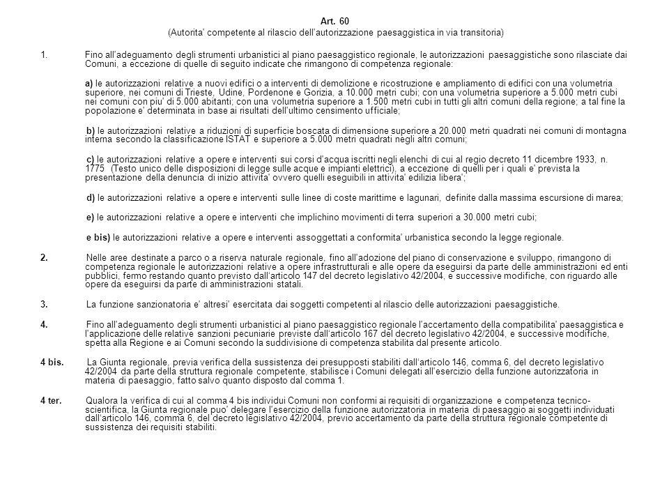 Art. 60 (Autorita competente al rilascio dell autorizzazione paesaggistica in via transitoria)