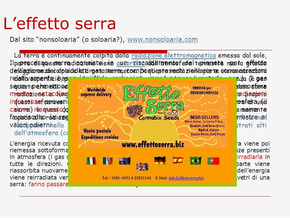 L'effetto serra Dal sito nonsoloaria (o soloaria ), www.nonsoloaria.com.