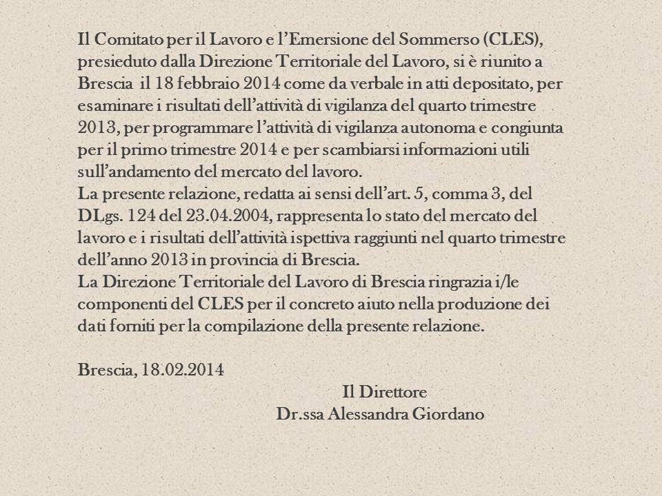 Il Comitato per il Lavoro e l'Emersione del Sommerso (CLES), presieduto dalla Direzione Territoriale del Lavoro, si è riunito a Brescia il 18 febbraio 2014 come da verbale in atti depositato, per esaminare i risultati dell'attività di vigilanza del quarto trimestre 2013, per programmare l'attività di vigilanza autonoma e congiunta per il primo trimestre 2014 e per scambiarsi informazioni utili sull'andamento del mercato del lavoro.