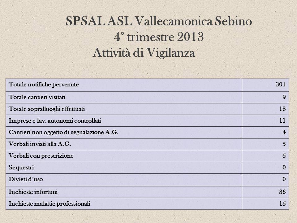 SPSAL ASL Vallecamonica Sebino 4° trimestre 2013 Attività di Vigilanza