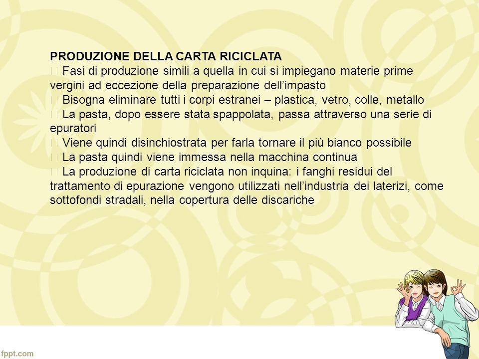 PRODUZIONE DELLA CARTA RICICLATA