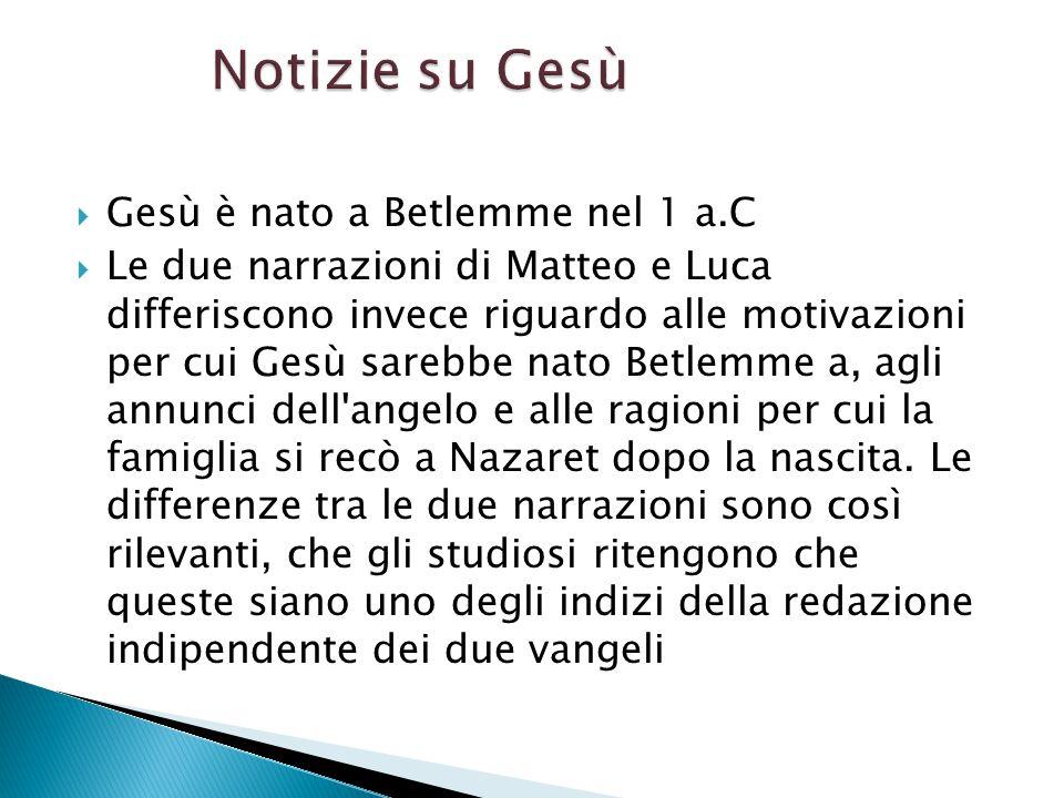 Notizie su Gesù Gesù è nato a Betlemme nel 1 a.C